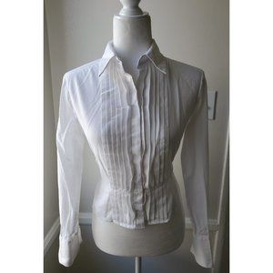 Jones New York Pleated Button Down Blouse PM